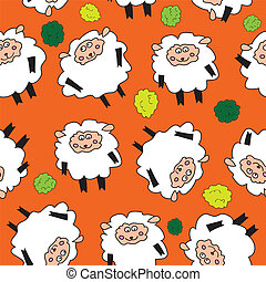 Sheep and shrubs. Seamless pattern. - Sheep seamless pattern...