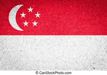Singapore flag on paper background