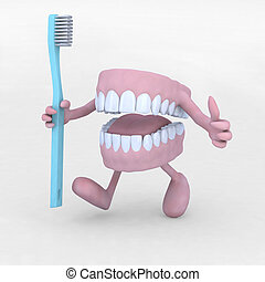 open denture cartoon with arms, legs and tootbrush, 3d...