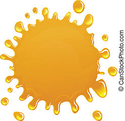 Oil or honey blotch, vector icon - Golden blotch of oil on a...