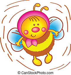 Little bee in a scarf on a white background. - Vector...