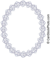silver chain, rose - oval frame on a white background.