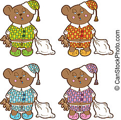 Sleepy bear in pajamas with a pillow and soft toy his hands. Set different colors.