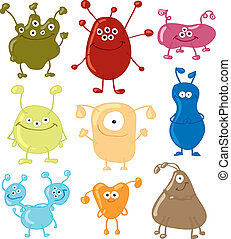 Bacteria. Set. Vector illustration. Isolated on background