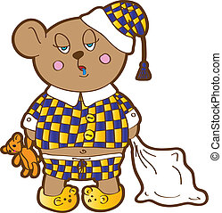Sleepy bear in pajamas with a pillow and soft toy his hands. Vector character