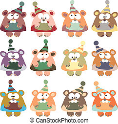 bears in winter hats colored vector on the white background