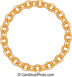 round frame vector - gold chain on the white background.