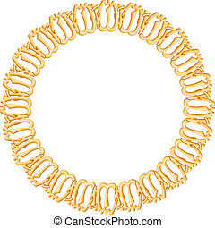 round frame on a white background - gold chain, religious symbol Islam