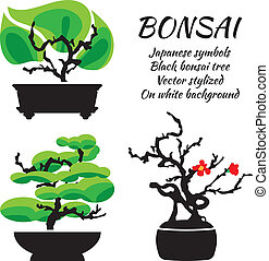 Bonsai, vector set on a white background