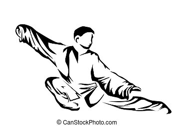 tai chi. silhouette of man isolated on whit background