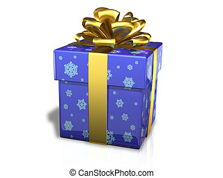 gift box blue - illustration gift box by bandaged golden...