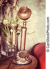 Retro telephone on table