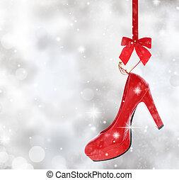 Fita, alto, vermelho, penduradas, calcanhar, sapato