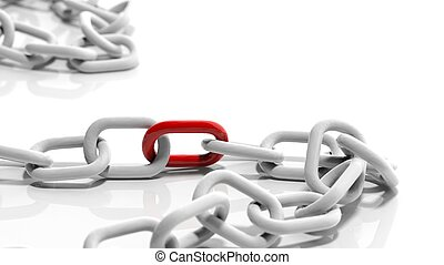 White chain with a red link isolated on white background