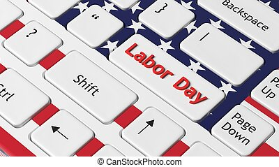 Laptop keyboard with American flag and Labor day key