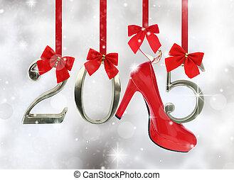 élevé, talon, chaussure, 2015, nombre, pendre,...