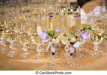 glasses of groom and bride