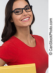 Portrait of happy smiling young woman girl wearing red...