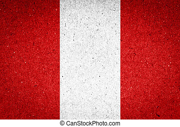 Peru flag on paper background