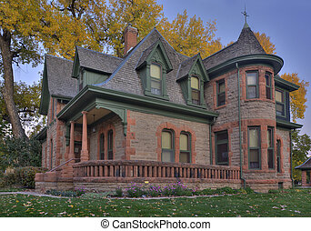 historical sandstone house in Colorado - Avery house -...