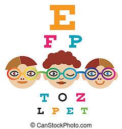Children testing eyesight - Three children testing eyesight...