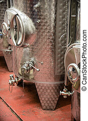 Wine distilling - Steel equipment used in the preparation of...