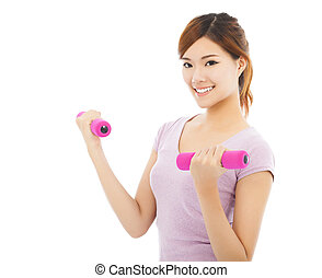 Young woman working out with dumbbells isolated on white...