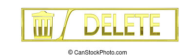 glossy golden Delete icon - 3D render isolated on white