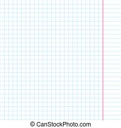 Exercise book in a cage. Vector illustration. Background for design.