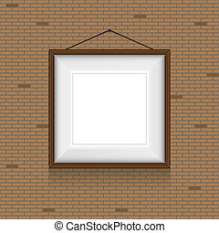 Vector frame for paintings or photographs on the brick wall...
