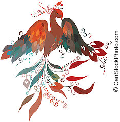 Firebird. Vector. - Beautiful Sunbird on a white background....