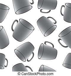 Cups seamless vector background. Template for design.