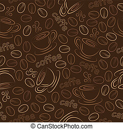 Seamless pattern with cups and coffee grains. Vector. -...
