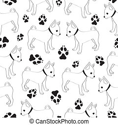 Russian Toy Terrier, seamless pattern with dogs. - Seamless...