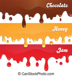 Chocolate, honey, jam drips on white background vector