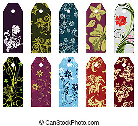 set of bookmarks - Set of ten different vector floral...