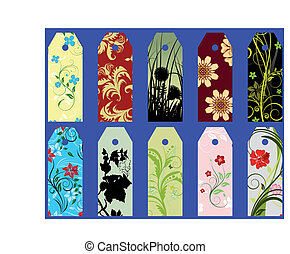 floral bookmarks - Set of ten vector floral bookmark labels