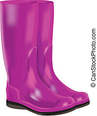 rubber boots on white background - Red rubber boots for wet...