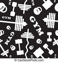 Gym Seamless vector pattern - Fitness healthy lifestyle...