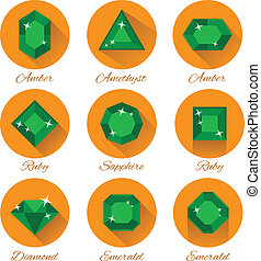 gems icons vector set on white background