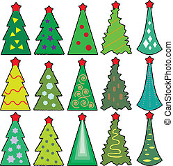 Set of Christmas icons trees in a simplified style vector.