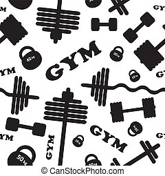 Gym. Seamless vector pattern. - Fitness healthy lifestyle...