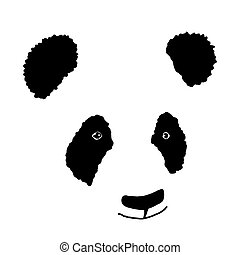 Simple hand drawn panda icon. Silhouette. Vector illutration