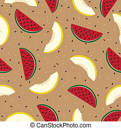 Slices of watermelon and cantaloupe, seamless pattern. -...