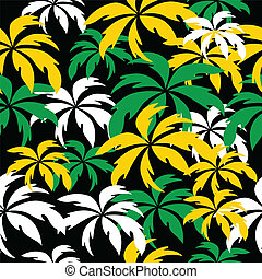 Palm trees in Jamaica colors. Seamless background.