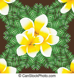 Plumeria seamless vector pattern palm leaves background