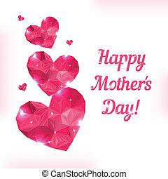 Happy Mother day. Love symbol. Pink origami heart on white....