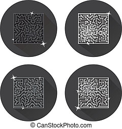Maze. Icons. Vector. - Abstract maze symbols on a white...