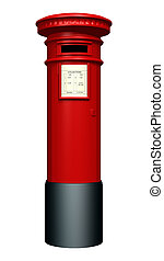 Red Pillar Box - 3D digital render of a red pillar mailbox...