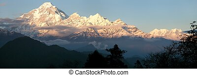 Evening panoramic view of mount Dhaulagiri - Nepal